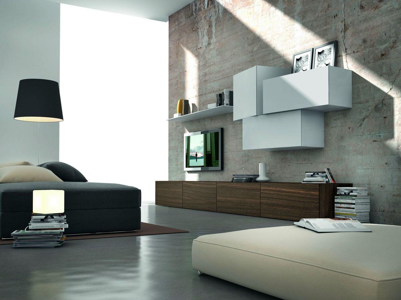 Parete attrezzata componibile fissata a muro modulare for Presotto parete attrezzata
