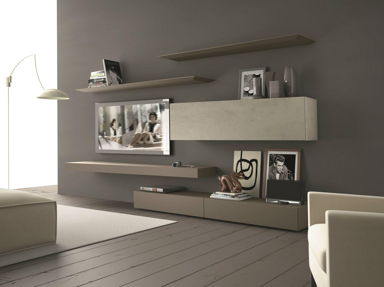 Parete attrezzata componibile fissata a muro con porta tv for Mobili salotto design