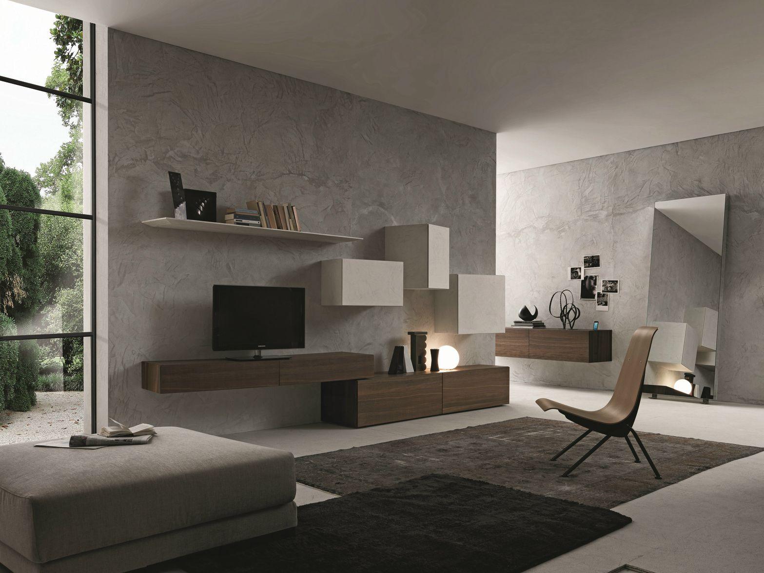 Parete attrezzata componibile fissata a muro con porta tv for Presotto industrie mobili