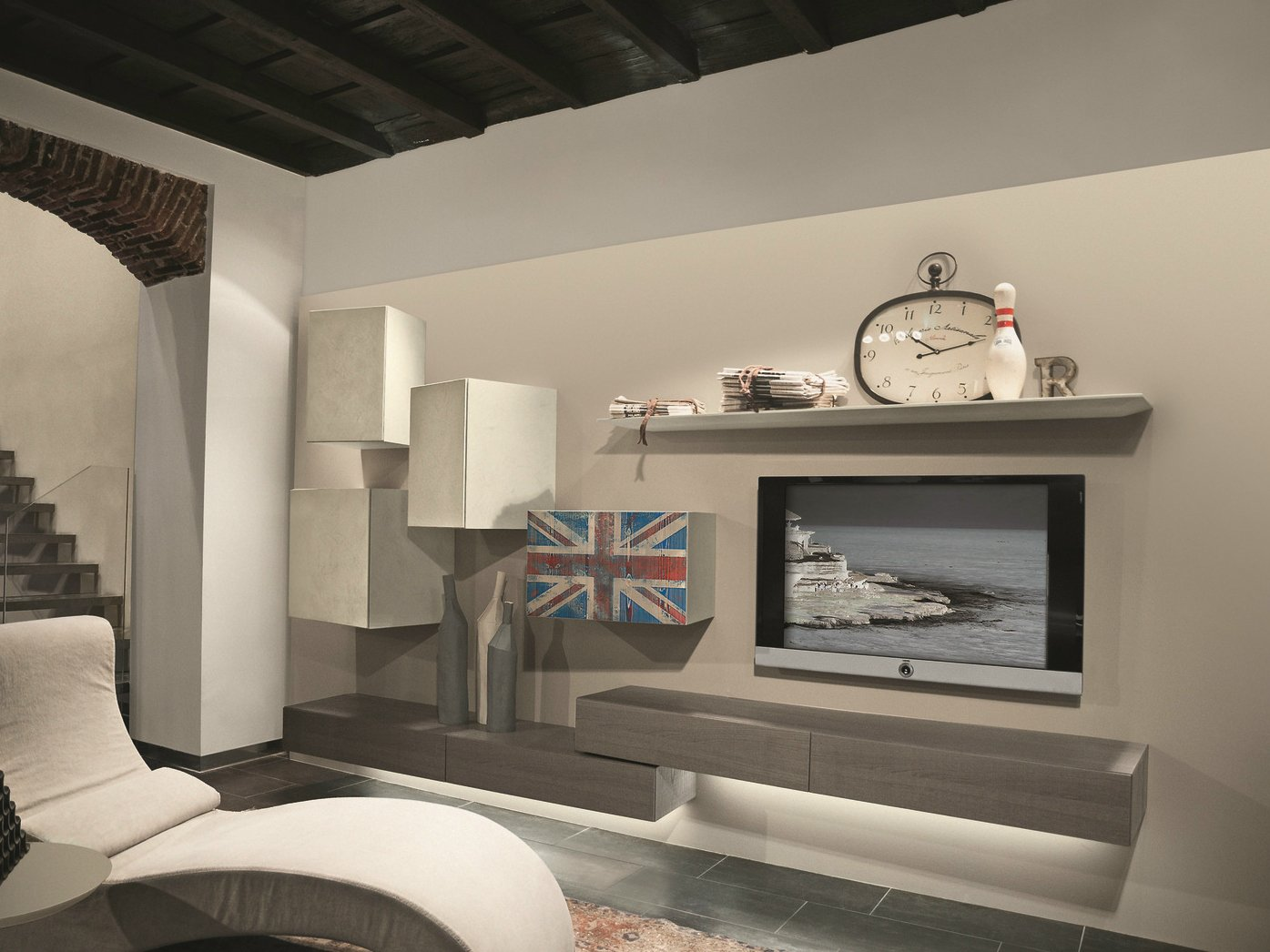 Sectional wall mounted tv wall system inclinart 313 by - Mobili tv vintage ...