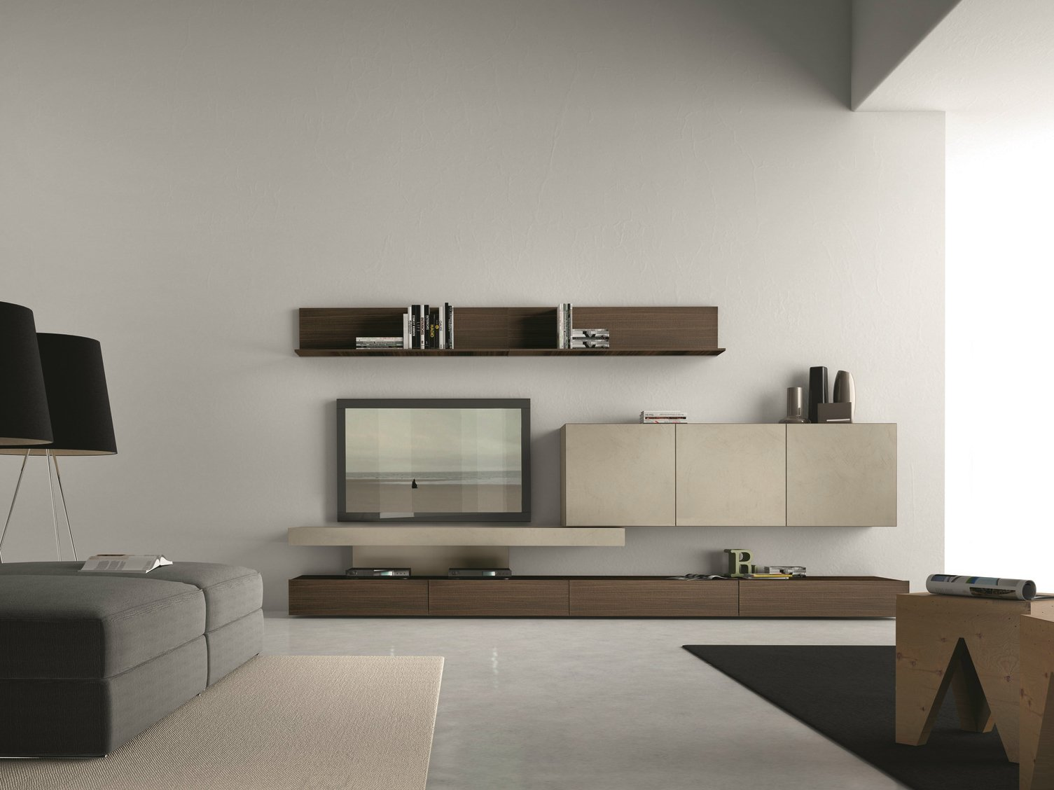 Sectional wall mounted tv wall system i modulart 282 by for Mobili design