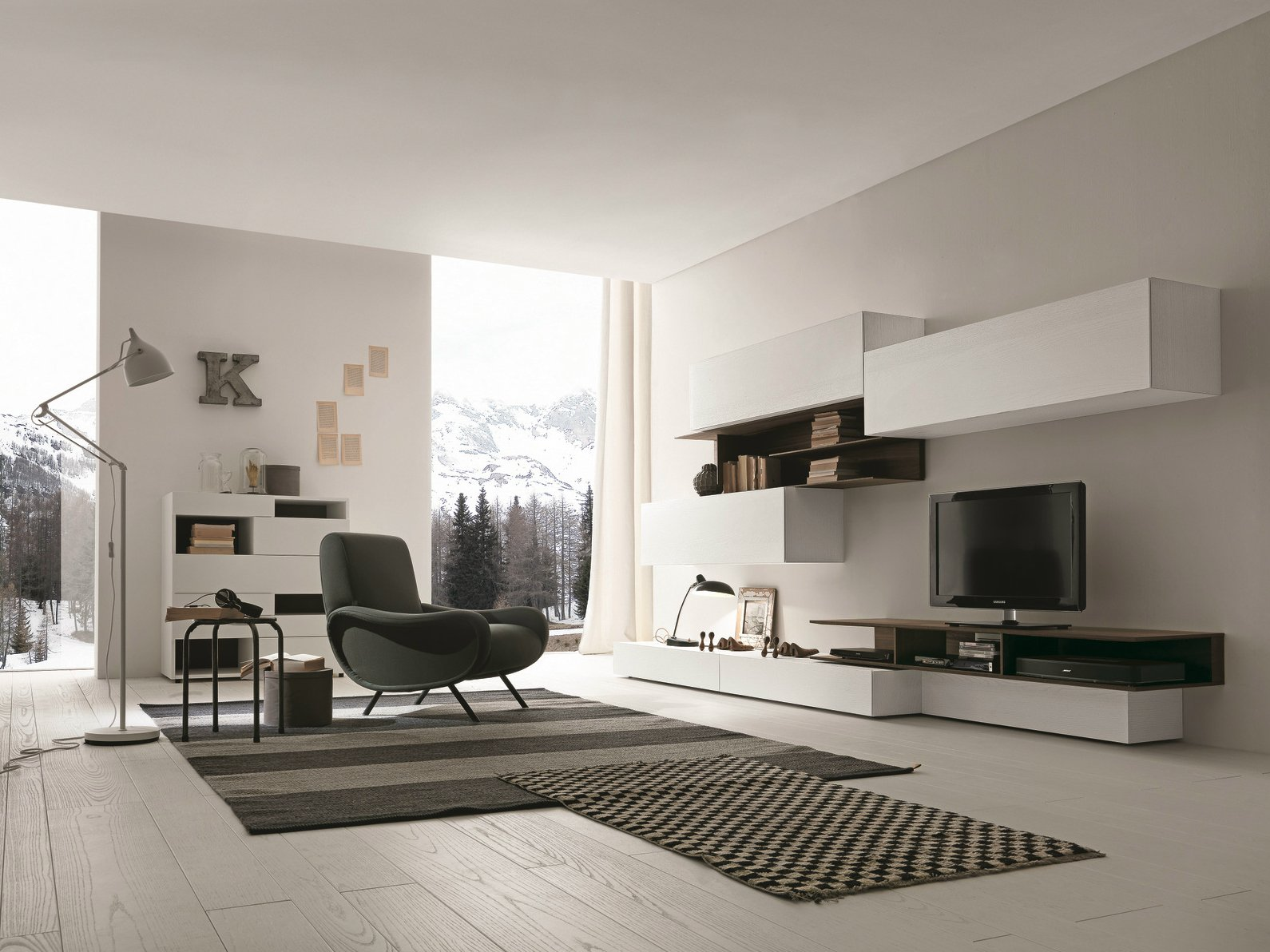 Ensemble mural composable fixation mural avec support tv i modulart 270a by presotto industrie - Mobili brugnera ...