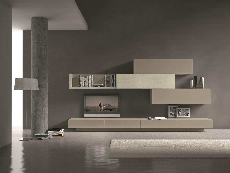 Parete attrezzata componibile fissata a muro con porta tv for Presotto mobili
