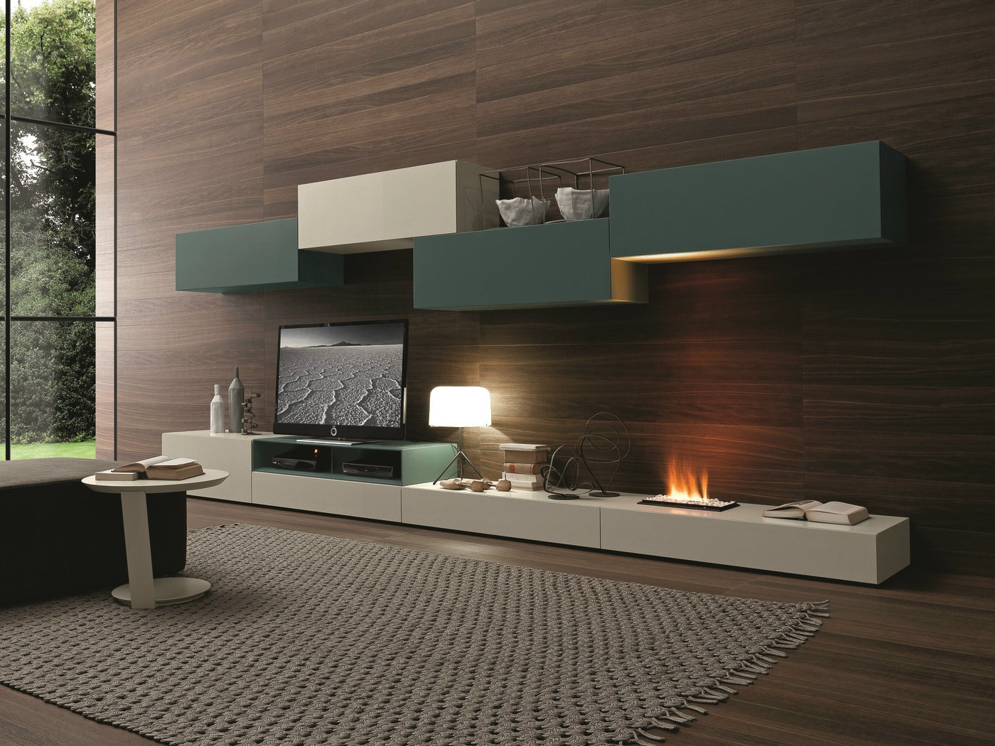 Sectional wall mounted tv wall system 276 by presotto for Presotto industrie mobili