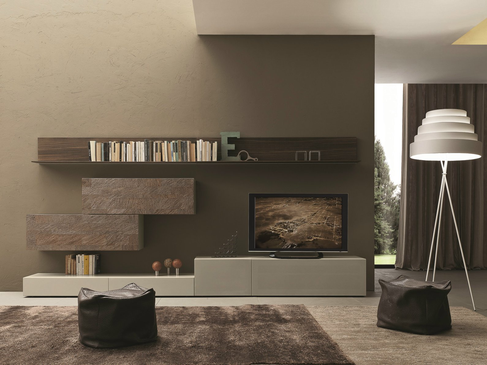 Sectional wall mounted tv wall system i modulart 274 by for Www presotto it