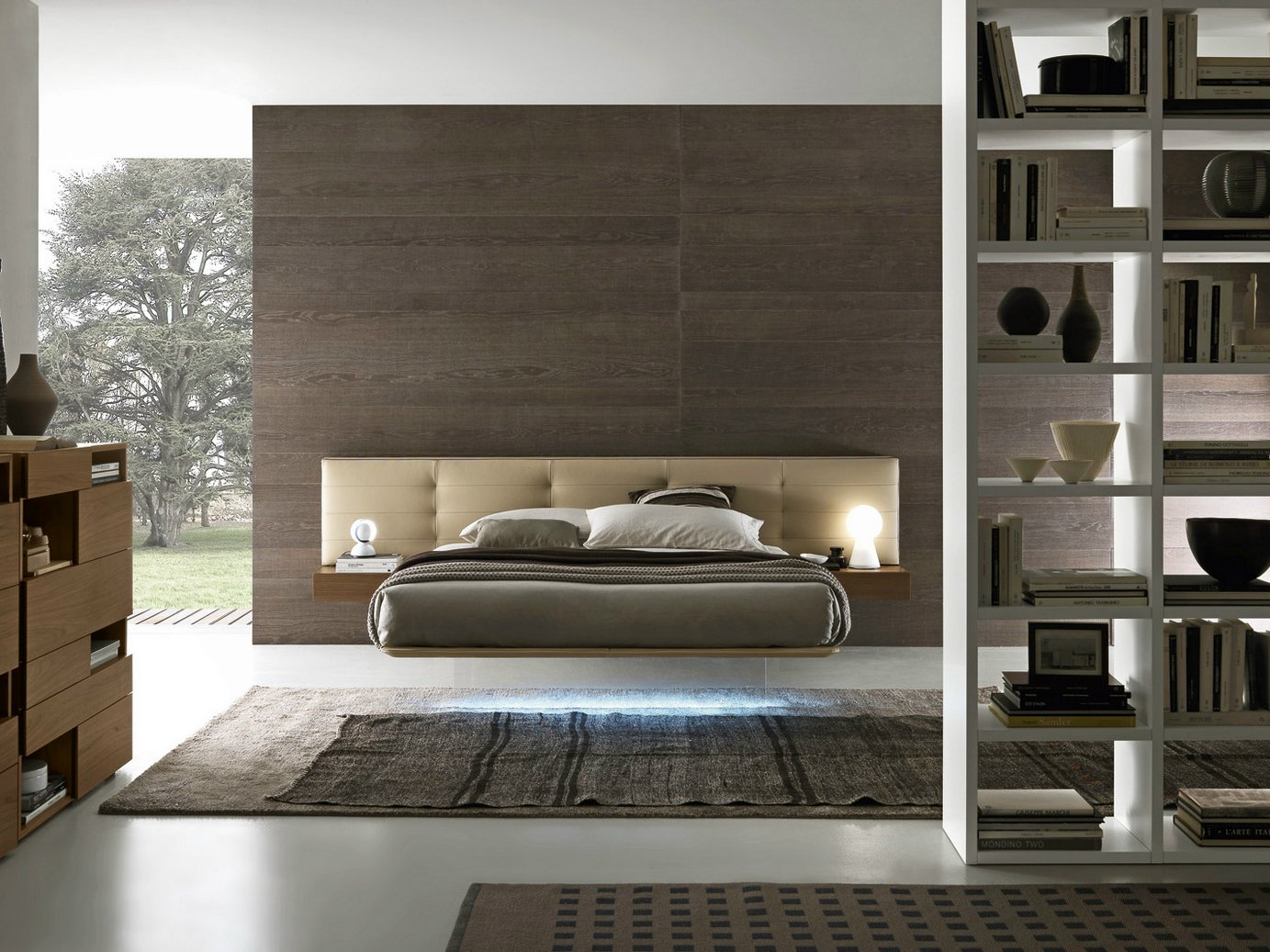 Wing system bed with tufted headboard by presotto for Www presotto it