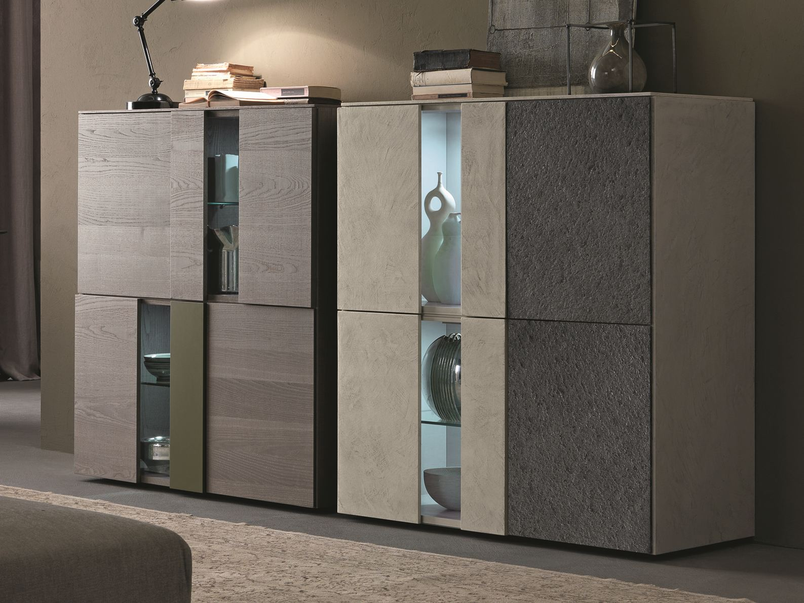 I modulart credenza con ante a battente by presotto for Mobili design