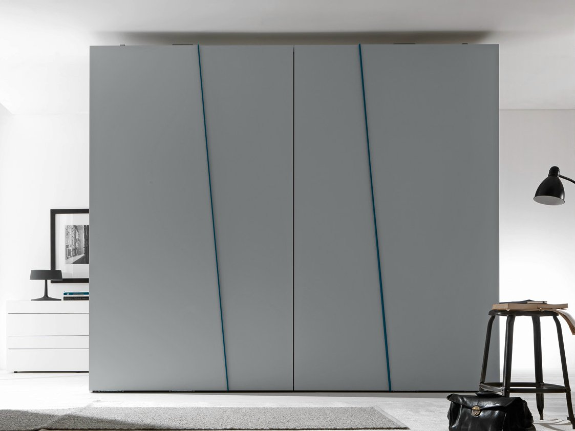 Armoire composable laqu e portes coulissantes diagonal for Mobili design
