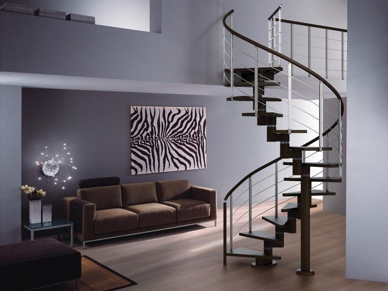 Escalera de caracol en acero y madera spiral gamma by rintal for Escaleras rintal
