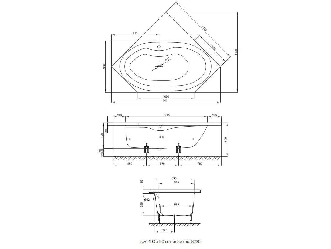 Baignoire hexagonale encastrable en acier maill for Architecture hexagonale