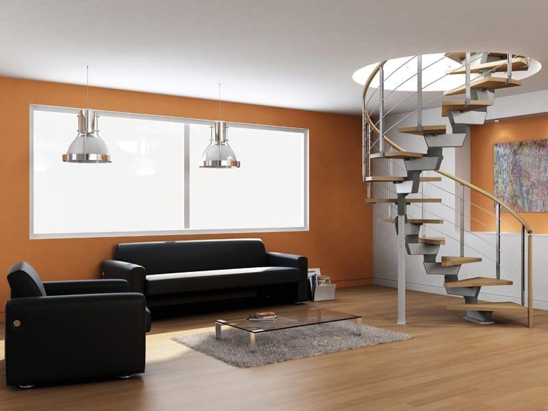 Escalera de caracol helicoidal en acero y madera spiral for Escaleras rintal