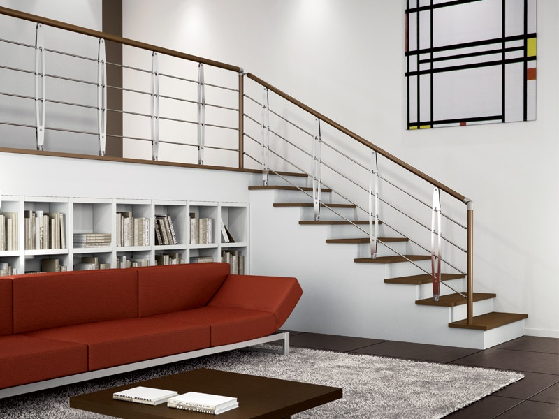 Baranda en acero y madera para escaleras leaf by rintal - Barandas para escaleras de madera ...