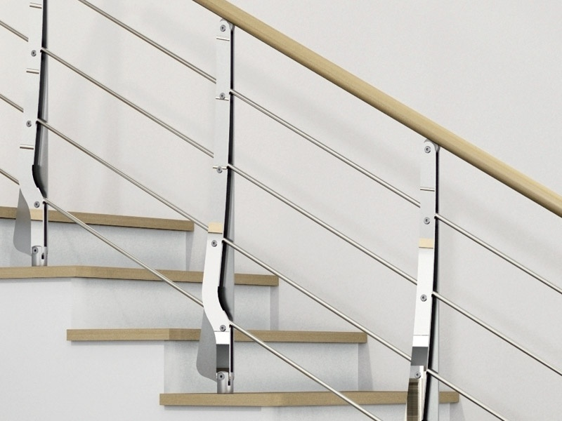 Baranda de escalera en acero y madera para escaleras - Barandas de escaleras de madera ...