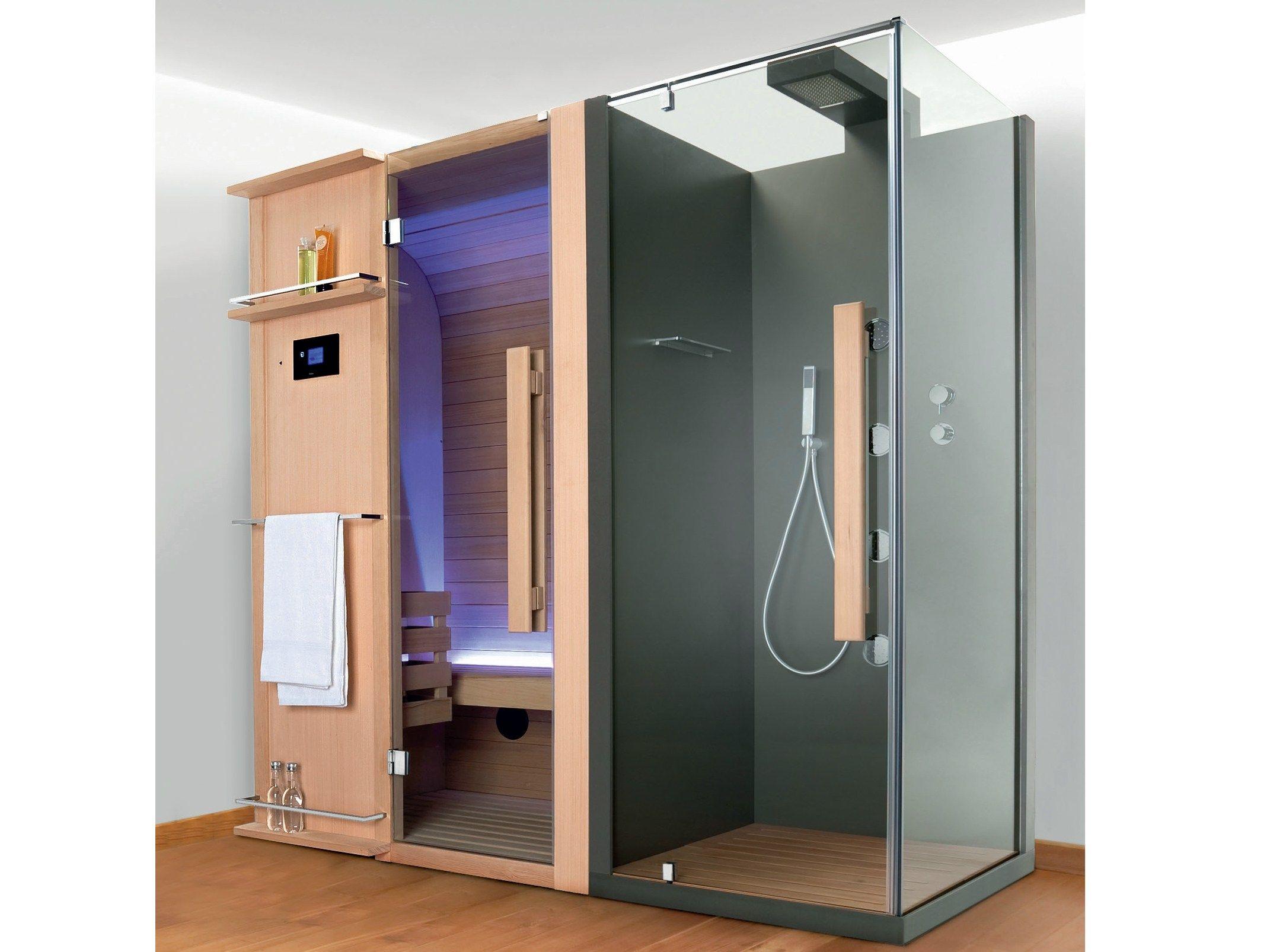 Sauna avec douche cuna doccia by hafro design franco bertoli for Sauna exterieur avec douche