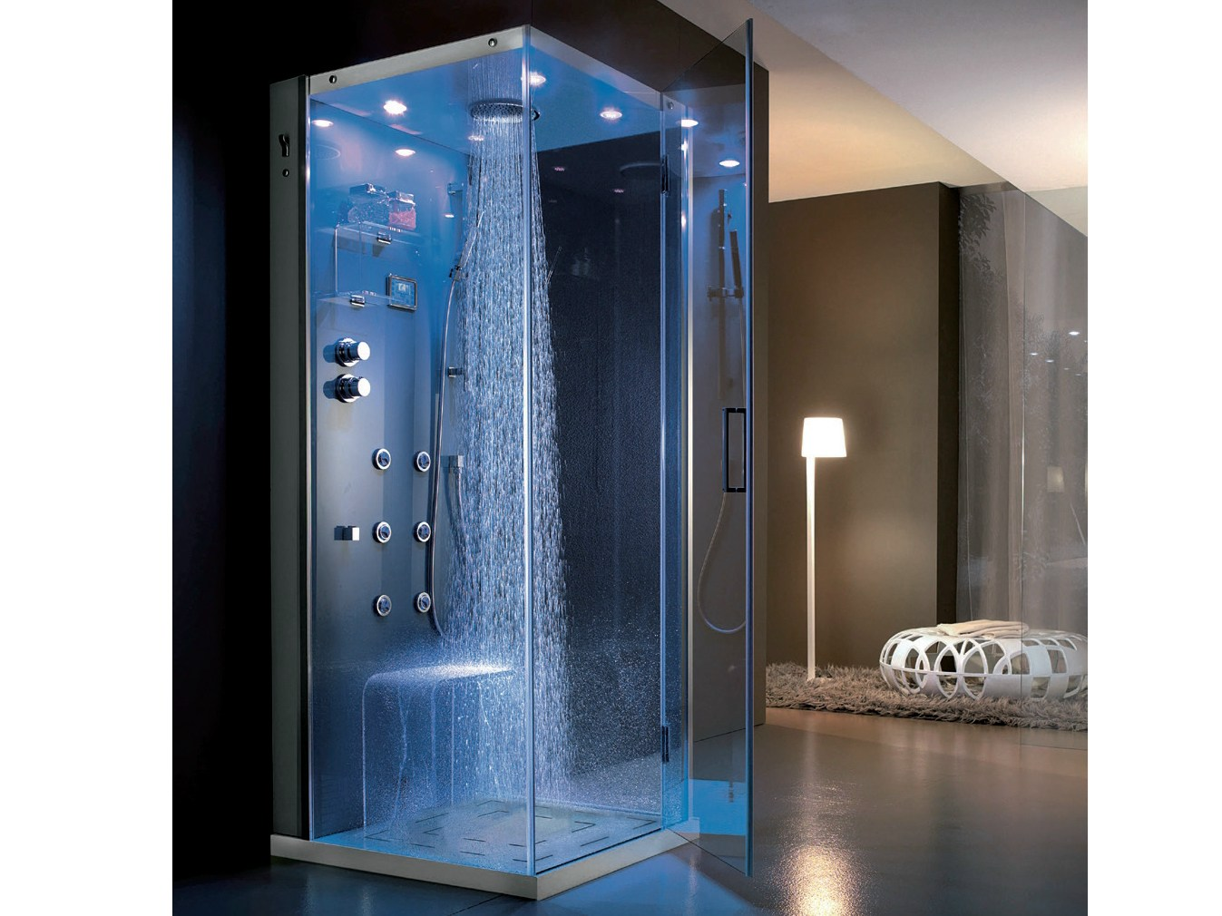 cabine de douche d 39 angle multifonction hydromassage en cristal tempo 90 x 90 by hafro. Black Bedroom Furniture Sets. Home Design Ideas