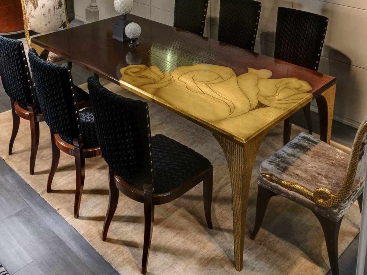 Tavolo Da Pranzo Rettangolare Con Intarsio In Foglia Oro SECRET ROSE  #977634 1271 953 Sala Da Pranzo Online