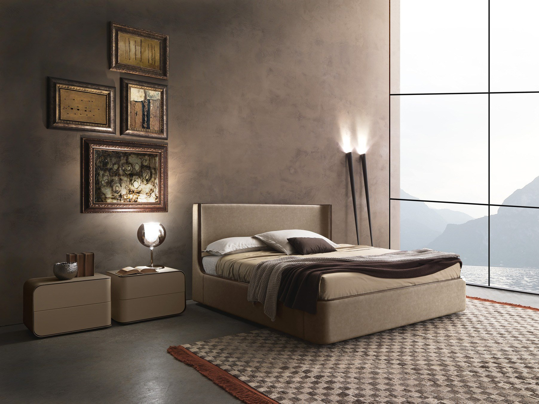 contemporary style upholstered wooden double bed callas by presotto industrie mobili design. Black Bedroom Furniture Sets. Home Design Ideas