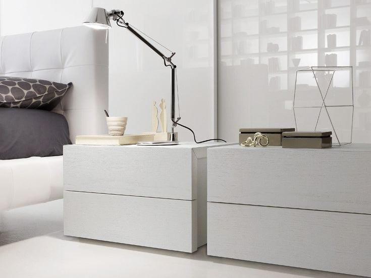 Comodino laccato rettangolare in legno elle comodino for Presotto industrie mobili