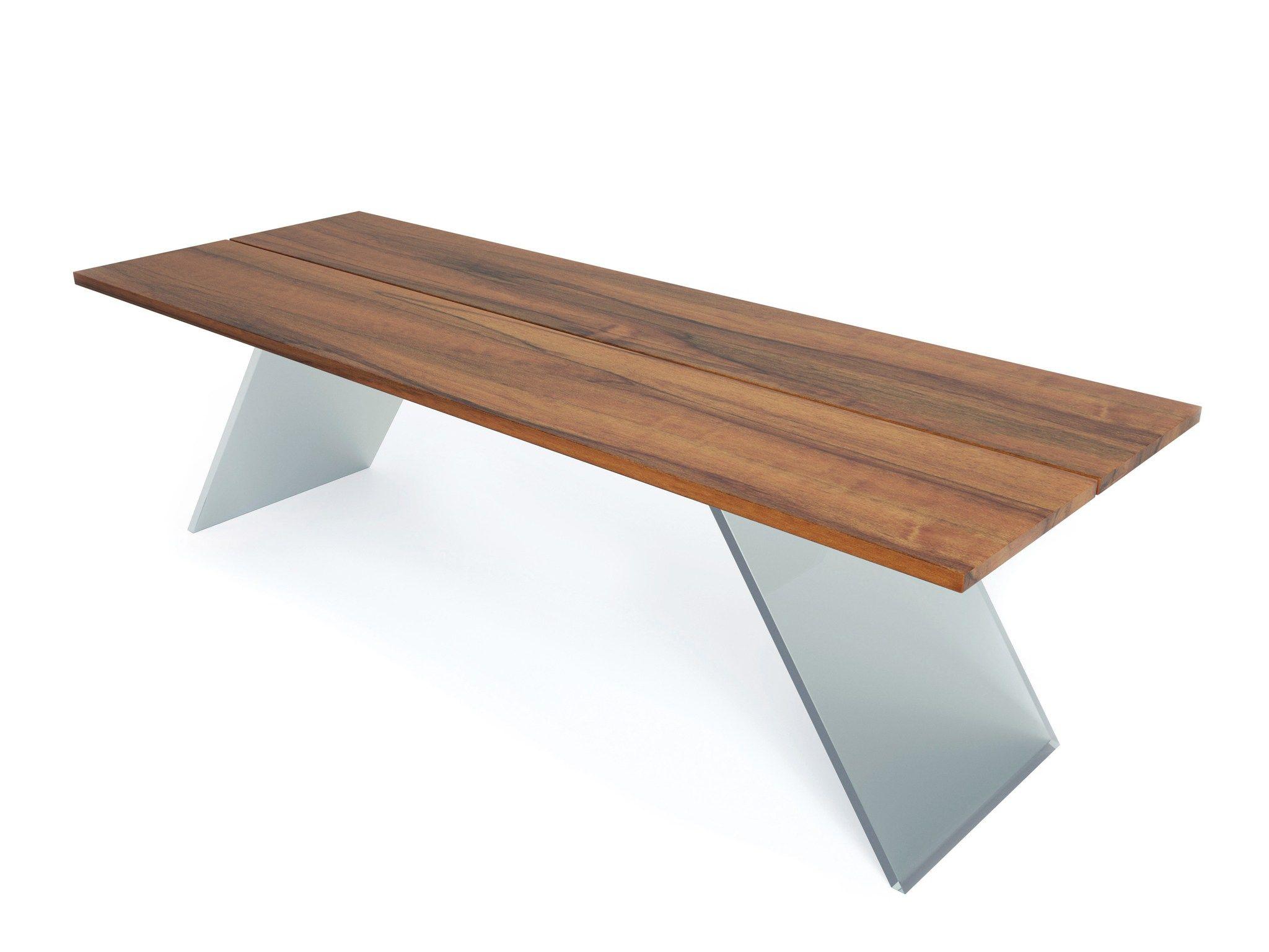 Table rectangulaire en bois et verre flyer by estel group - Table verre rectangulaire ...