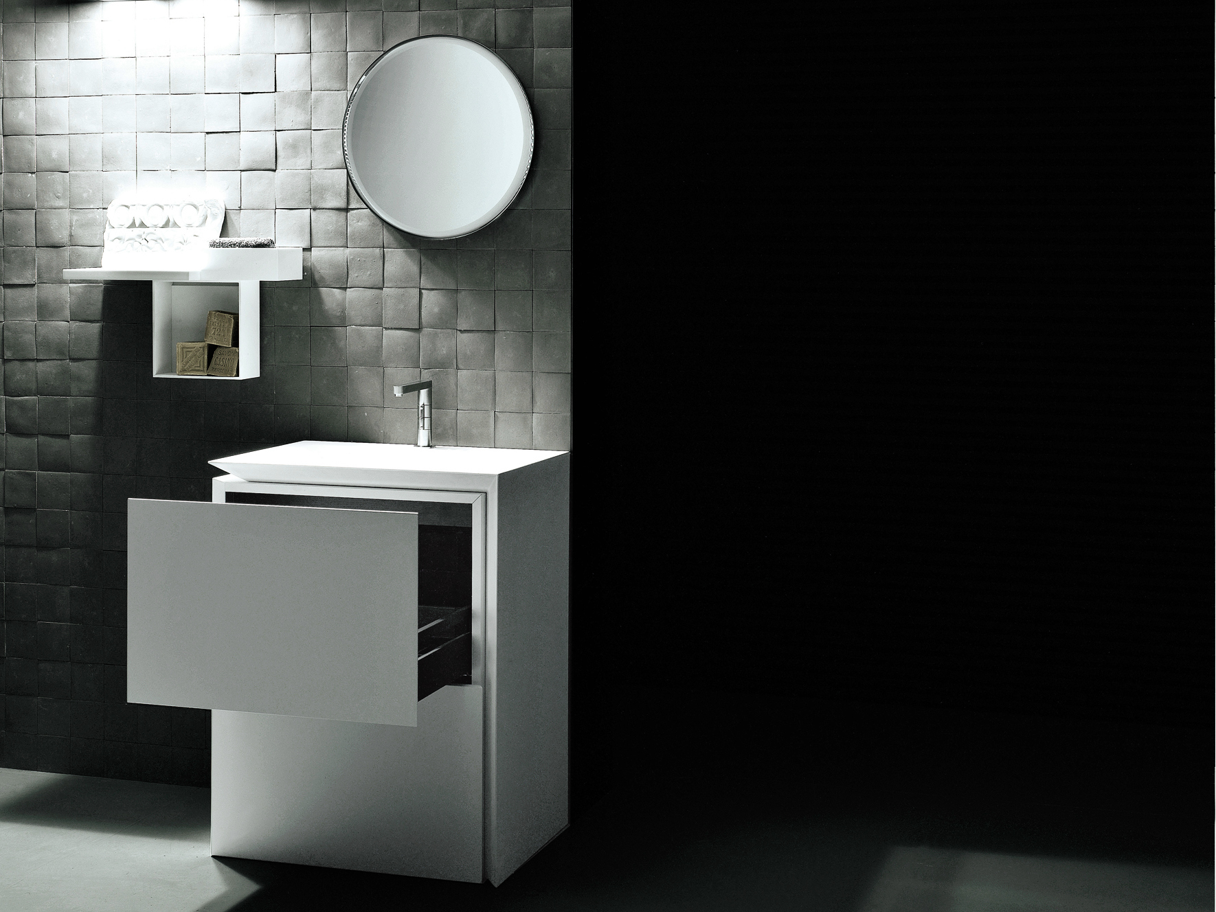 Single Corian 174 Vanity Unit With Drawers B15 By Boffi
