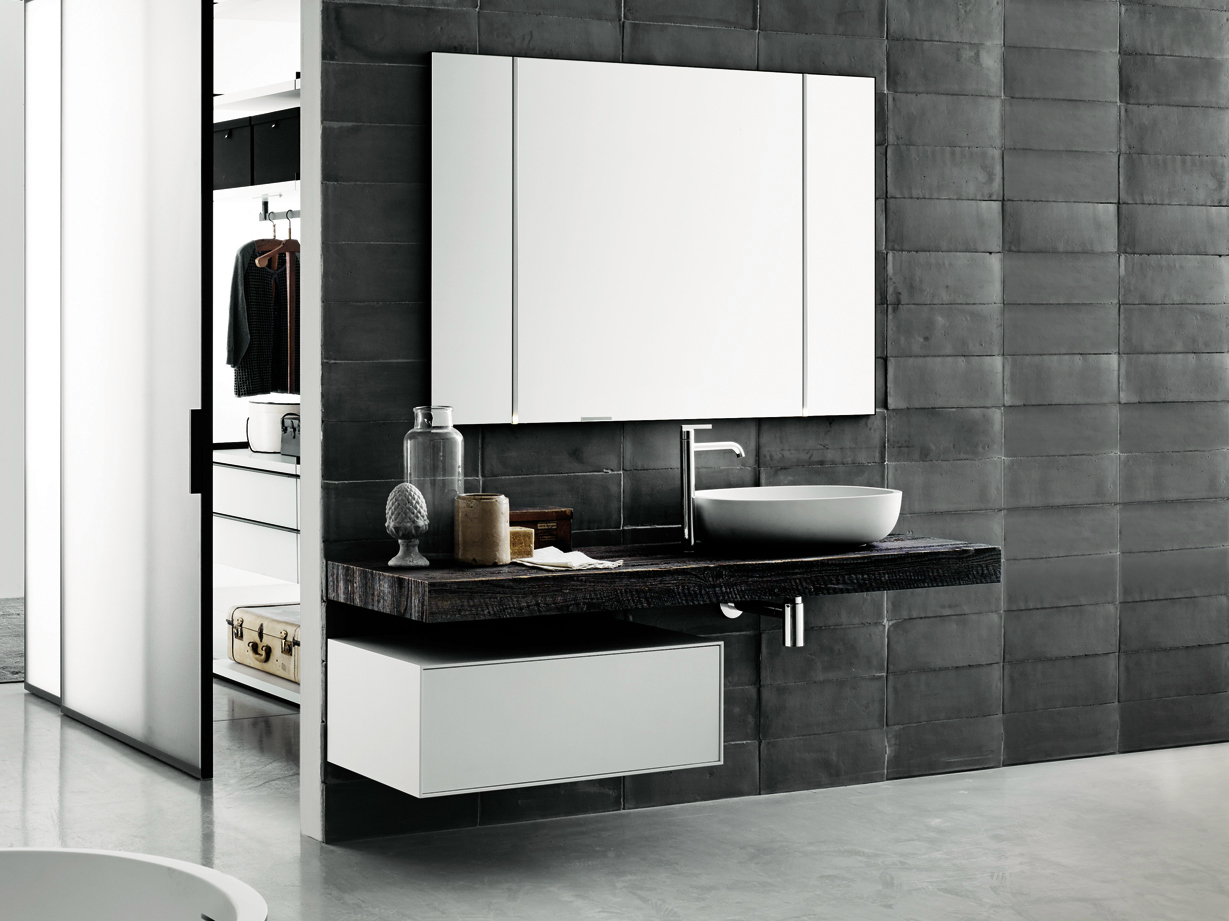 Bancada de lavatório de madeira estilo moderno FLYER Bancada de  #5D4C3C 1229 921