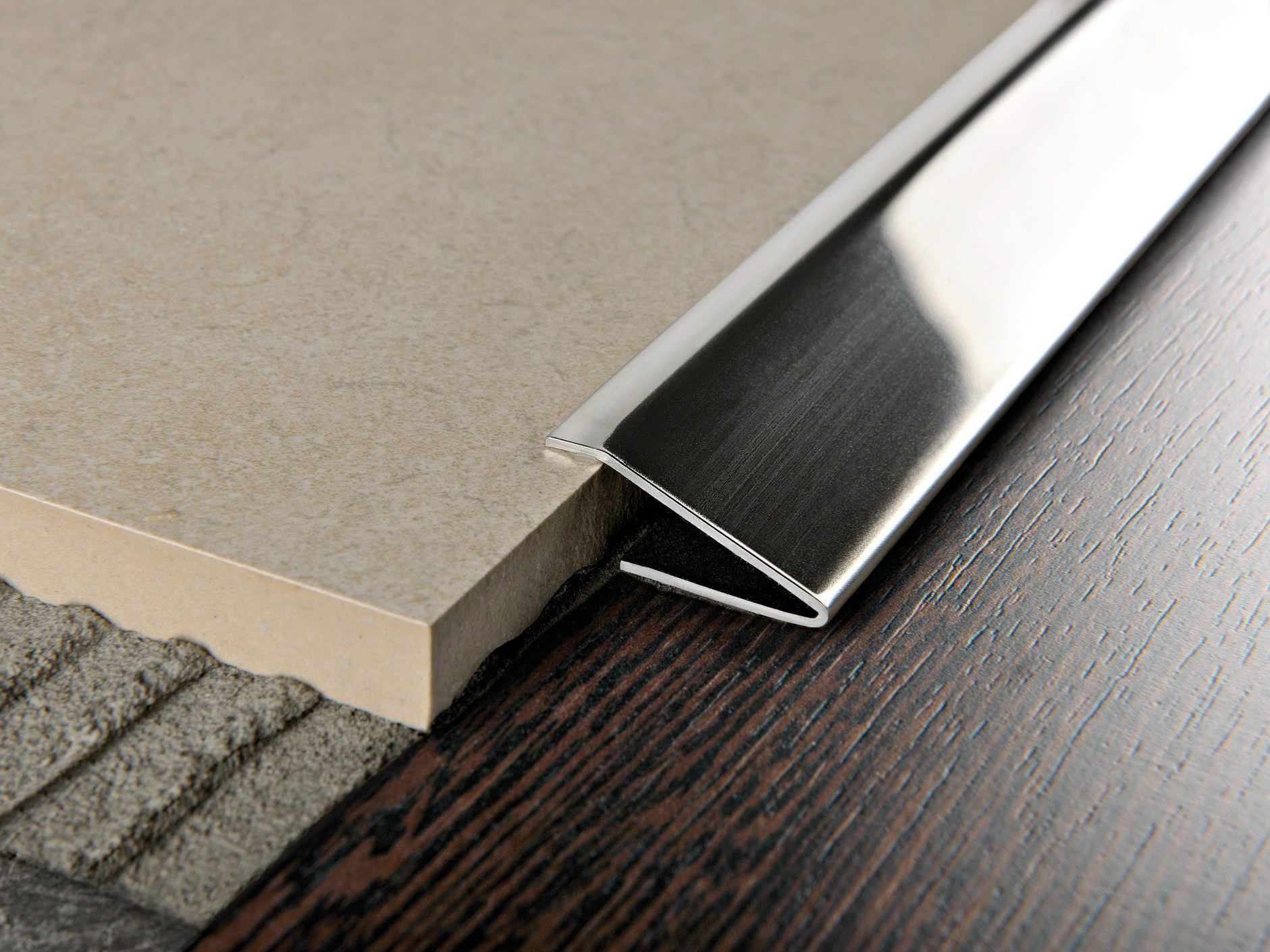 Glossy steel edge profile for floors propress 712 by for Floor profile