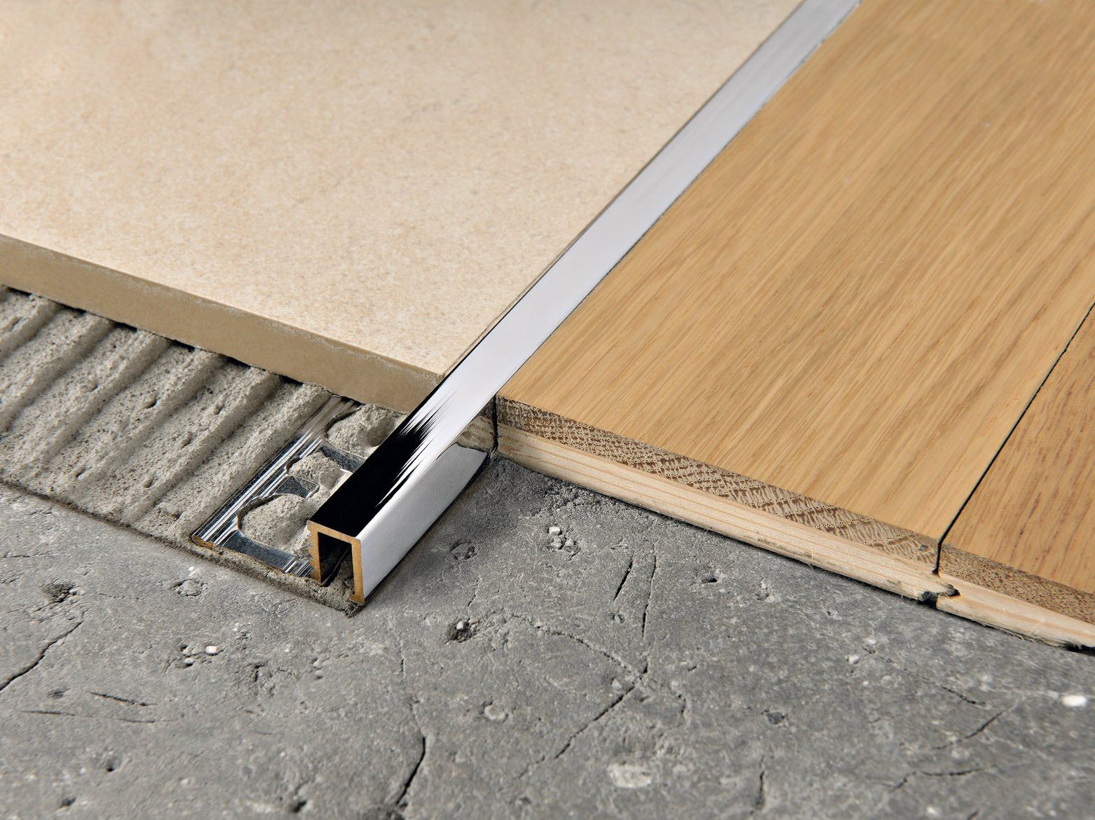 Joint pour sol en laiton chrom profinal by progress profiles - Separation carrelage parquet ...