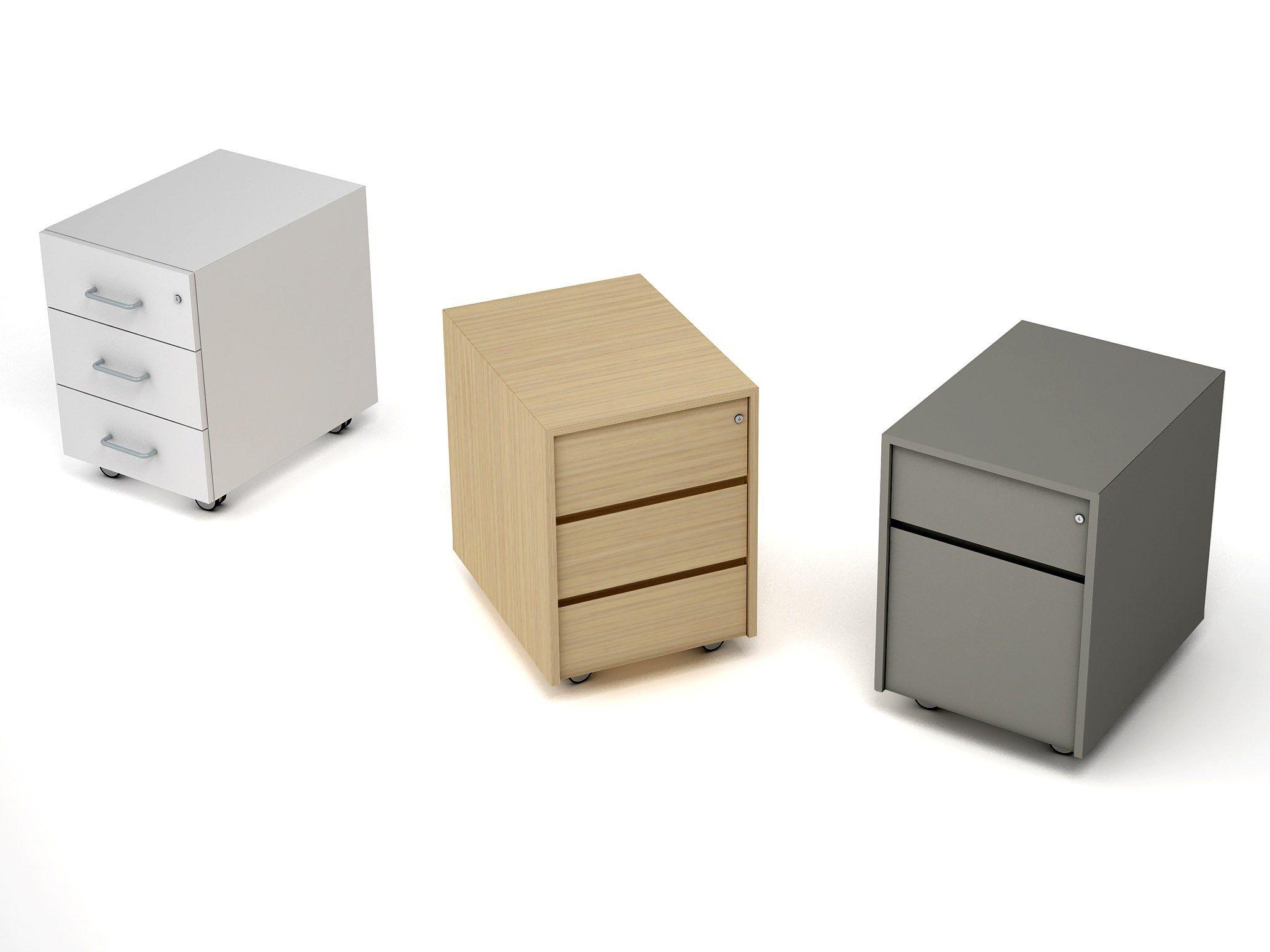 Cassettiera ufficio in legno con ruote linea estel office for Cassettiere ufficio design