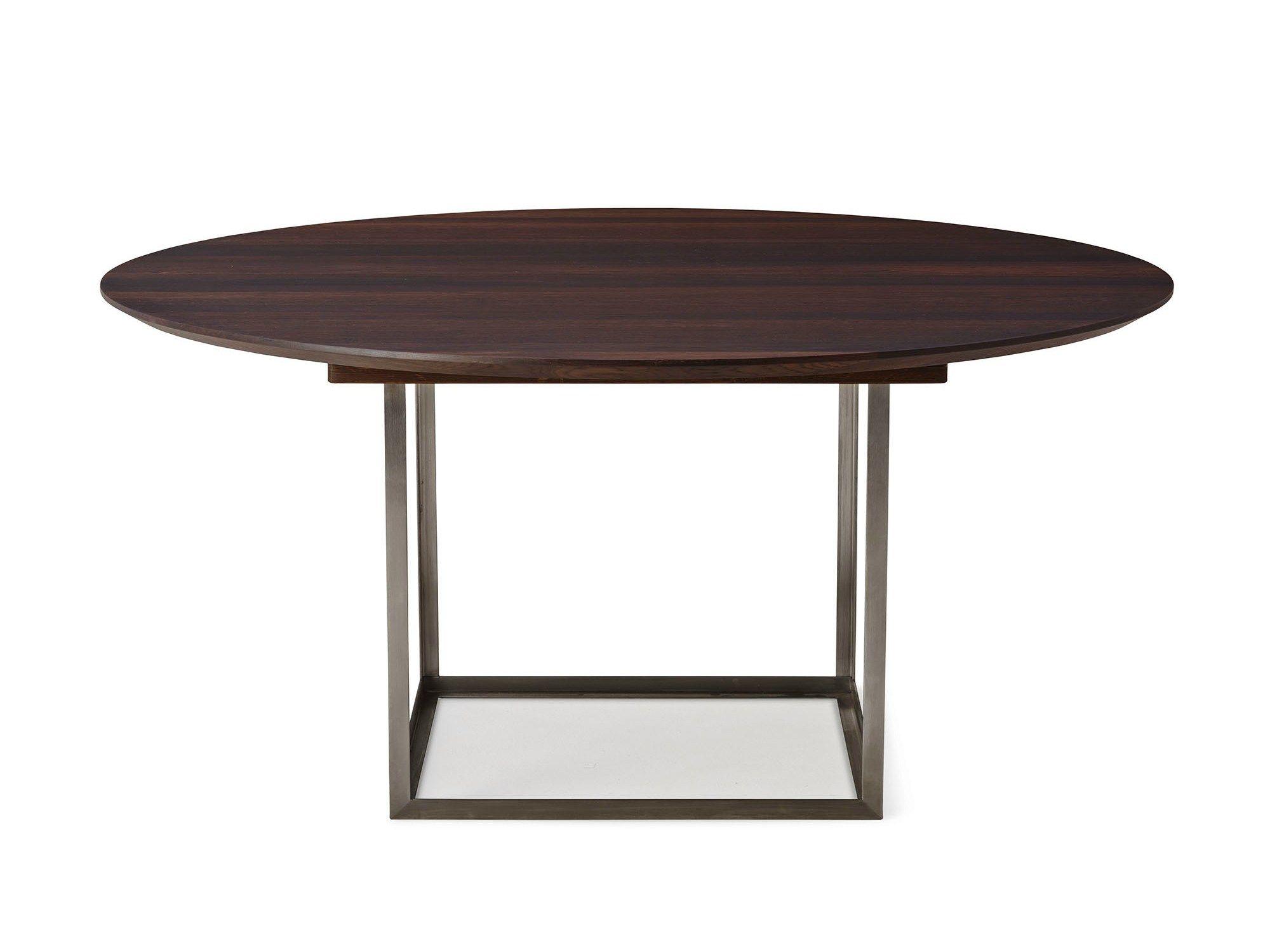 ausziehbarer runder tisch aus eichenholz jewel by dk3 design s ren juul. Black Bedroom Furniture Sets. Home Design Ideas