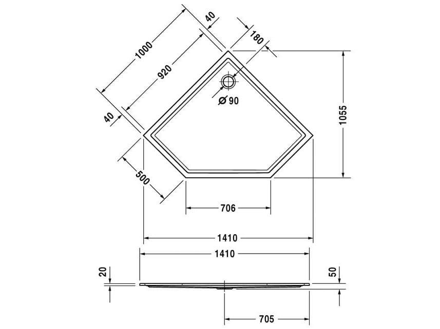Starck 100 x 100 by duravit design philippe starck - Piatto doccia triangolare ...