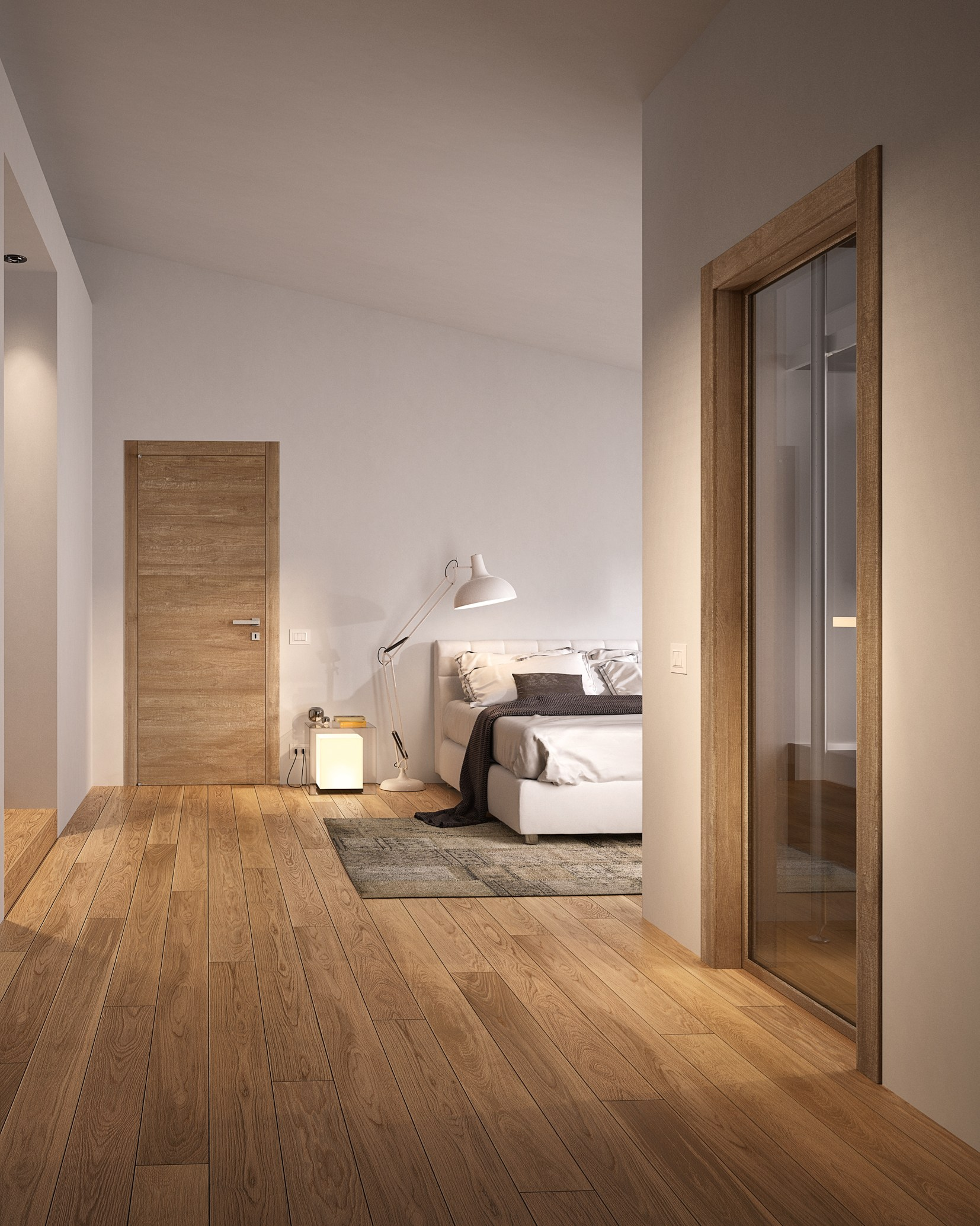 Grain porta in vetro by gidea for Abbinamento parquet e porte