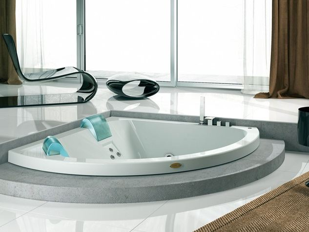 Aquasoul corner 155 baignoire encastrable by jacuzzi europe design carlo urbi - Baignoire d angle encastrable ...