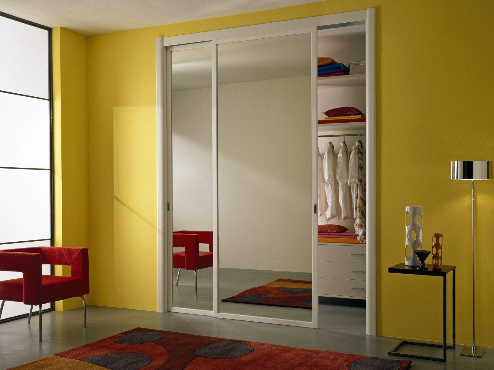 Porta scorrevole in vetro a specchio miria by gidea - Porte scorrevoli con specchio ...