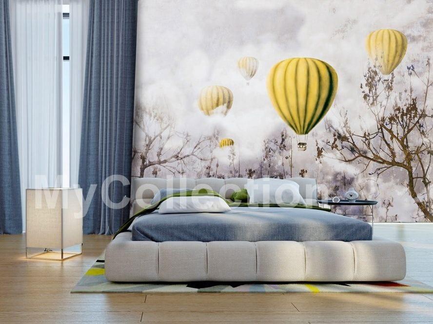 Carta da parati a motivi con paesaggi per bambini balloons and clouds by design - Carta adesiva per mobili bambini ...