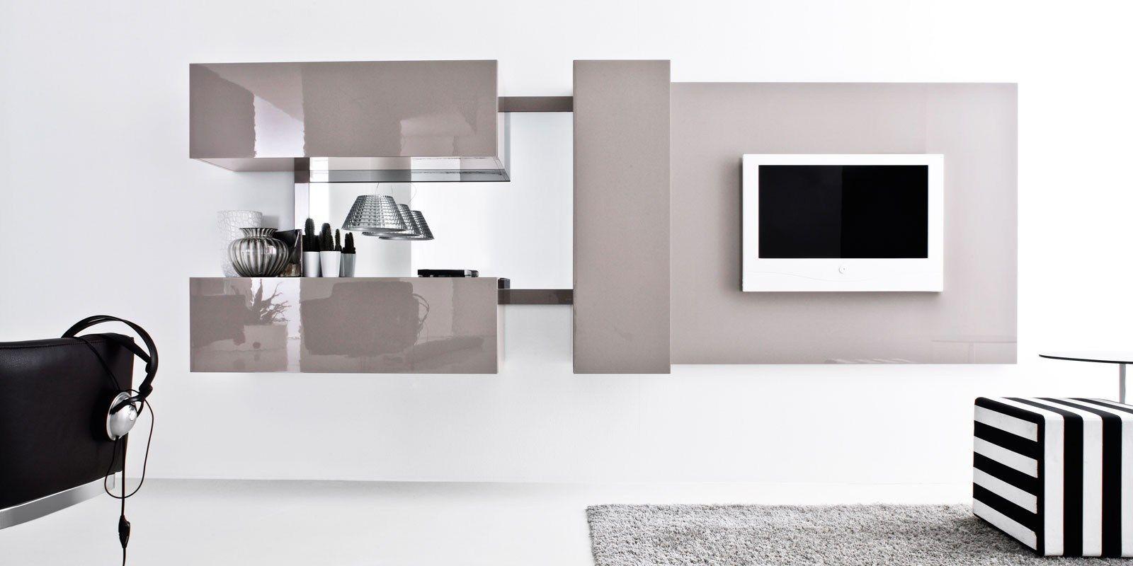 Mueble modular de pared independiente lacado con soporte - Mueble soporte tv ...