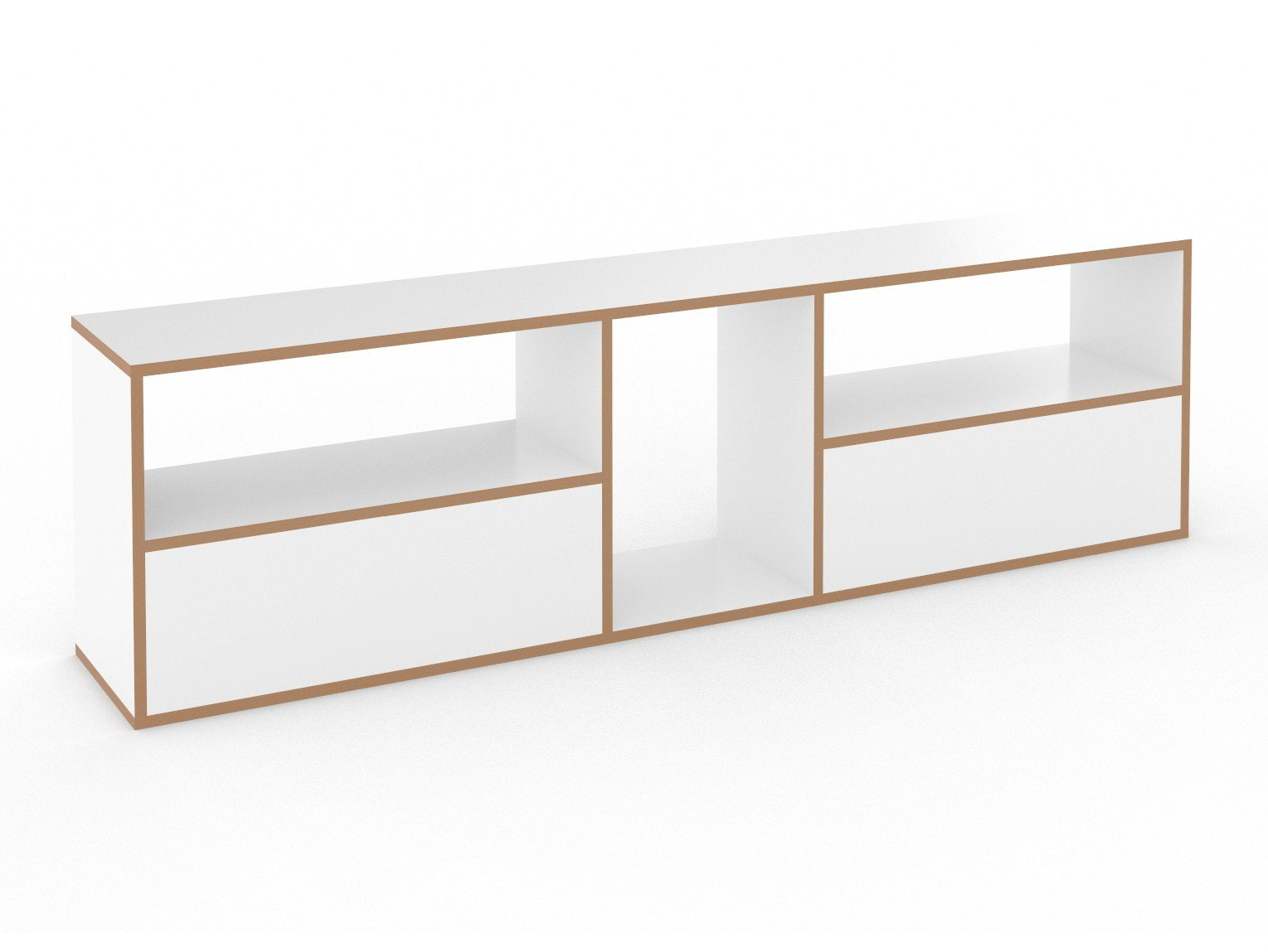 Open modular MDF bookcase HANIBAL by Tojo Möbel design FLOID