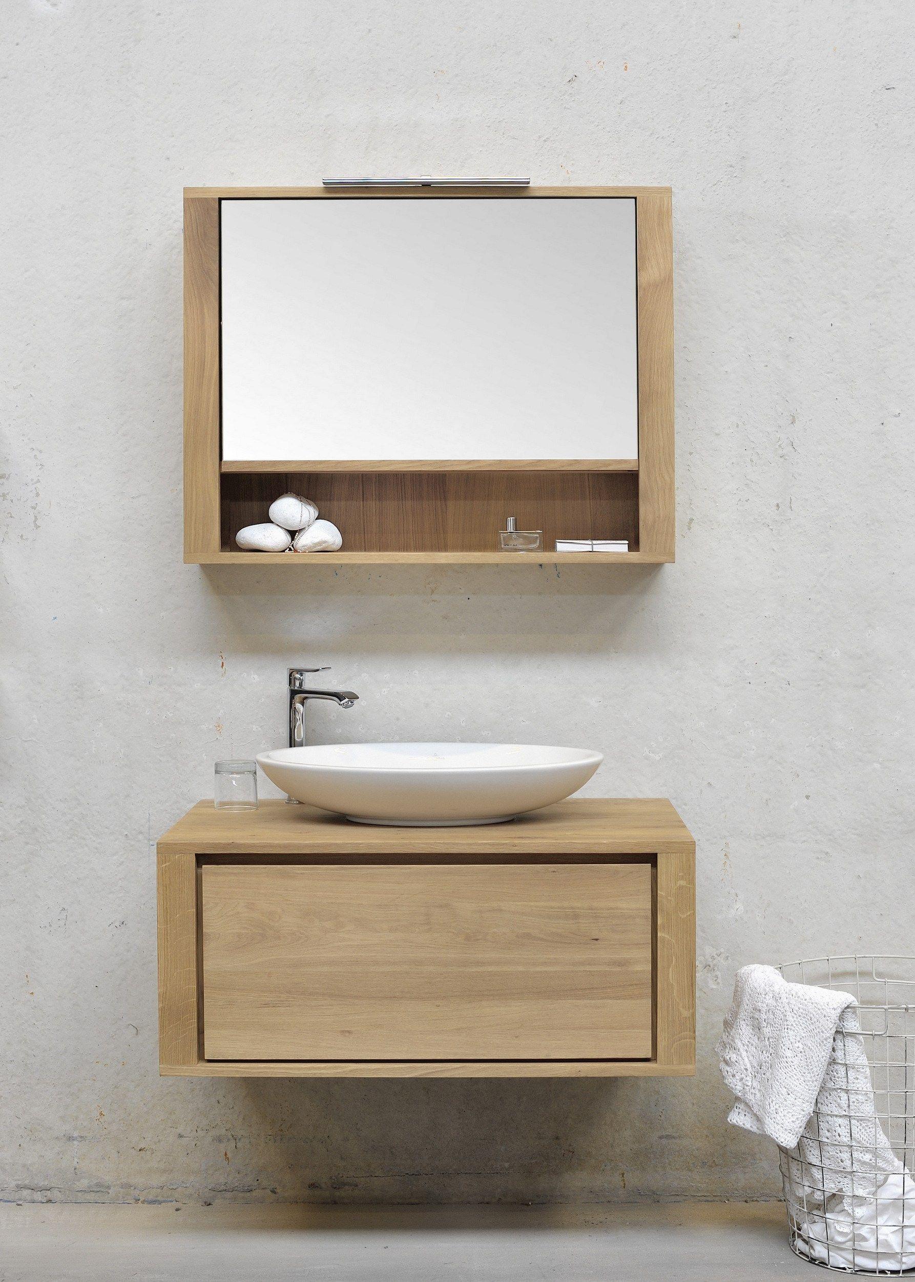 Oak shadow miroir pour salle de bain by ethnicraft for Miroir mural en bois