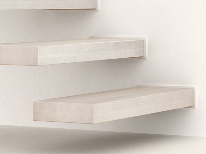 L shaped u shaped steel cantilevered staircase in kit form wall by fontanot spa - Scale in ceramica ...