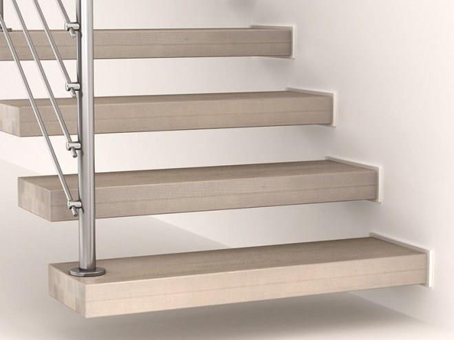 Escalera volada en forma de l en forma de u en acero en for Escaleras en forma de u