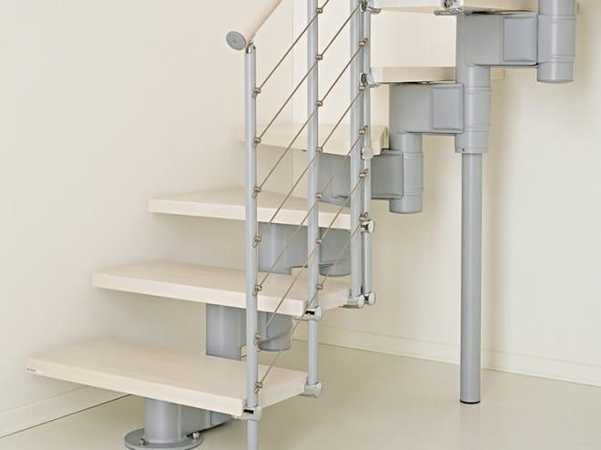 Escalier ouvert quart tournant en acier et bois pixima for Escalier ouvert salon