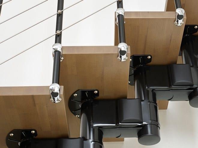 Escalier ouvert quart tournant en acier et bois pixima long tube by fontanot spa - Escalier ouvert salon ...