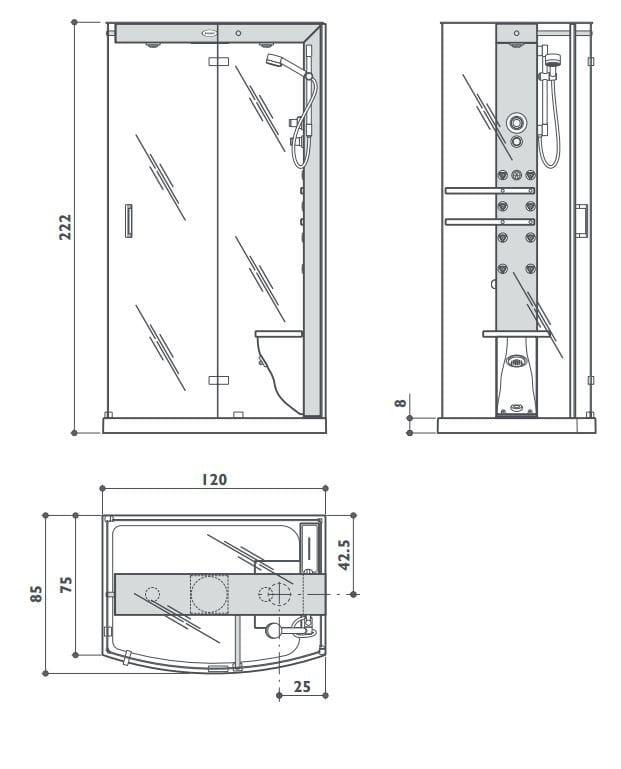 Box doccia con bagno turco con idromassaggio mynima 120 by - Cabine doccia in muratura ...