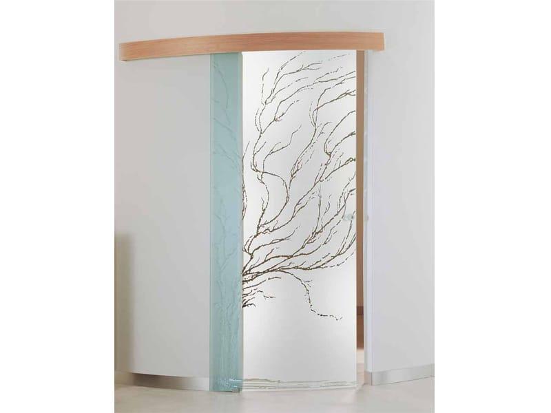 Porta scorrevole curva in vetro decorato albero porta - Porta scorrevole curva ...