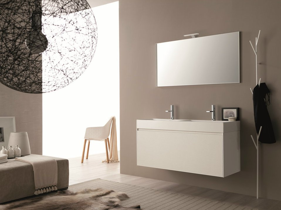 Vanity Unit With Mirror And Lights : Double wall-mounted HPL vanity unit with mirror LIGHT 45 - COMPOSITION G03 by NOVELLO