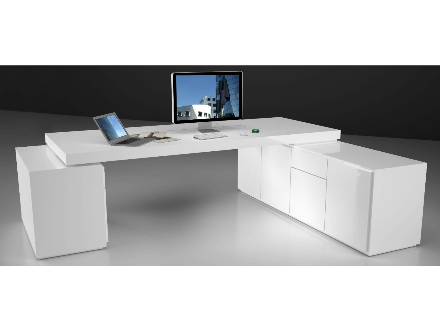 Bureau Design Blanc Laqu Top Bureau Dangle Design Avec Caisson  # Bureau Angle Tv