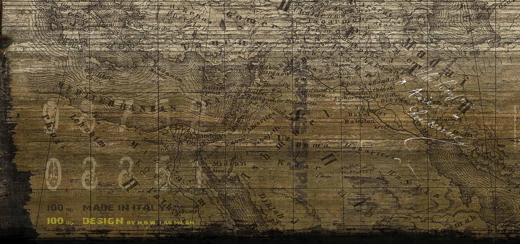 Carta da parati panoramica con scritte map by n o w edizioni for Carta da parati con scritte