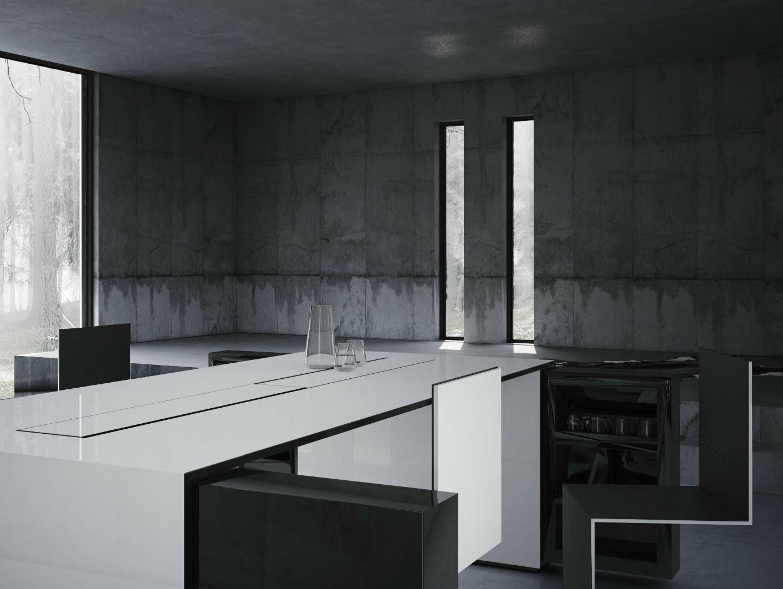escritorio de oficina rectangular con estantes universi by