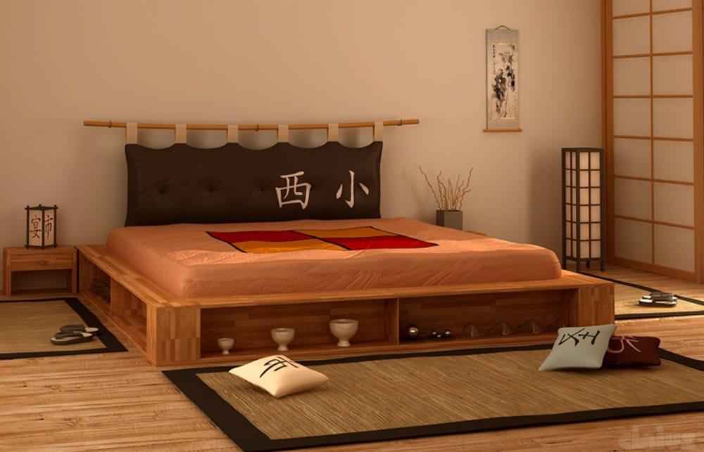Letto contenitore matrimoniale tatami in legno libroletto for Legno giapponese