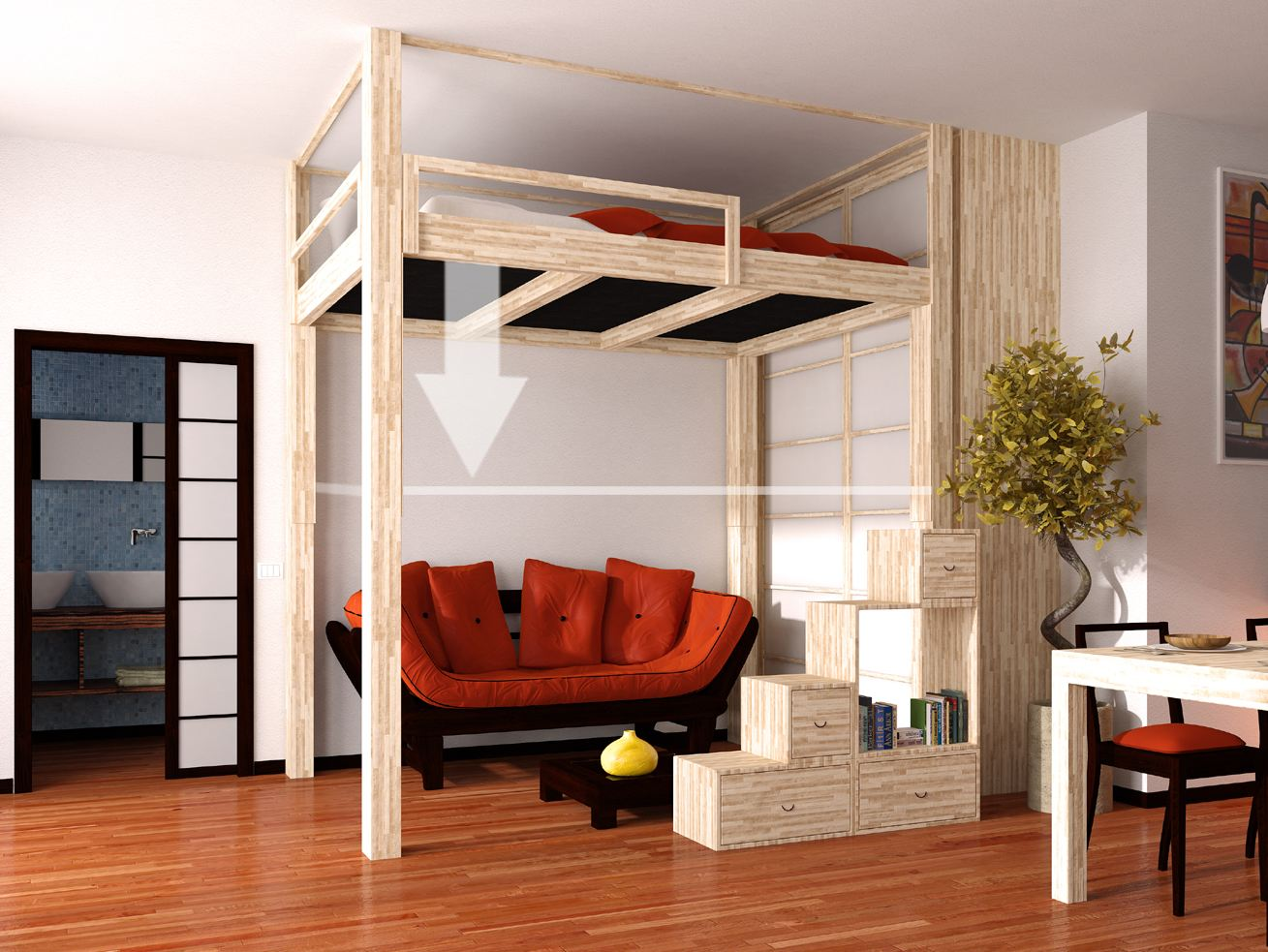 lit mezzanine en bois rising by cinius. Black Bedroom Furniture Sets. Home Design Ideas