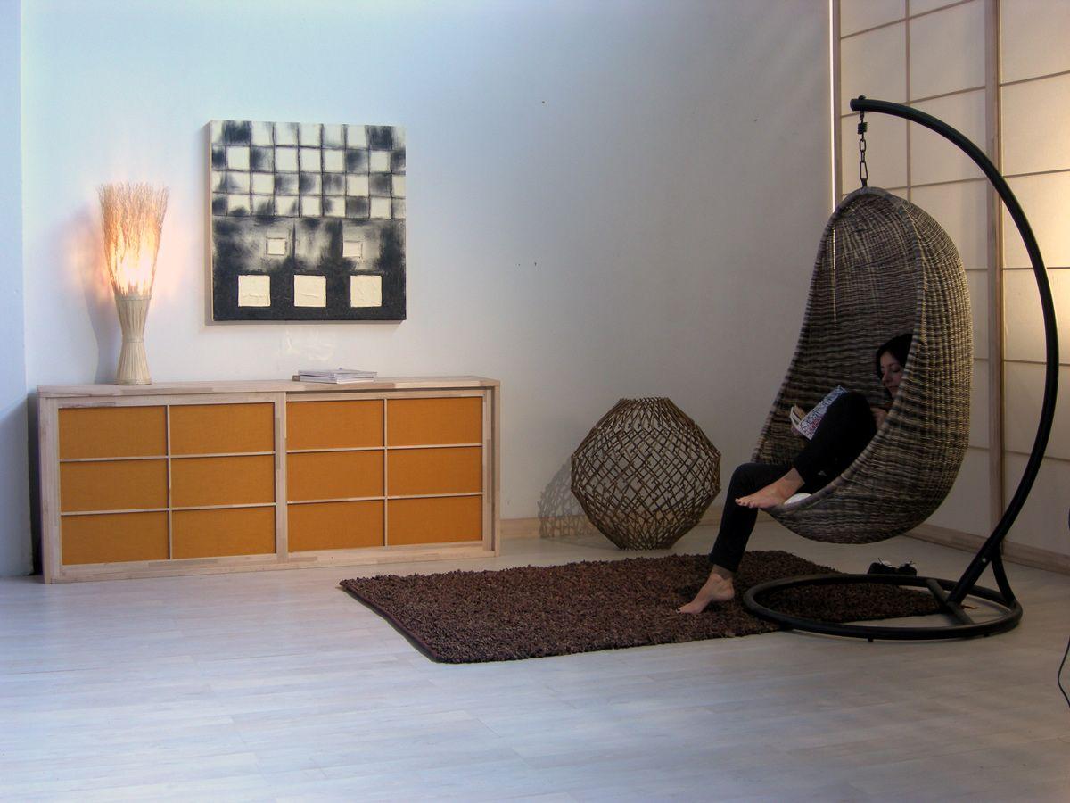madia laccata in legno con ante scorrevoli shoji madia cinius. Black Bedroom Furniture Sets. Home Design Ideas